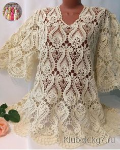 By Beautiful lace crochet top Blouse Au Crochet, Black Crochet Dress, Crochet Jacket, Crochet Blouse, Crochet Stitches Patterns, Lace Patterns, Crochet Motif, Crochet Lace Tops, Mode Crochet