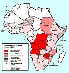 Map of the 2008–2009 cholera outbreak in sub-Saharan Africa showing the statistics as of 12 February 2009.