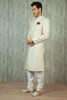 - Pure jacquard nawabi sherwani More Bridal Outfits, Bridal Wedding Dresses, Wedding Suits, Wedding Attire, Groom Outfit, Groom Dress, Men Dress, Sherwani Groom, Wedding Sherwani