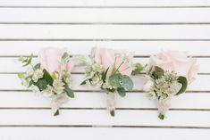 Pink Rose Buttonholes // Almonry Barn Somerset Wedding With Bridesmaids In Pale Pink Mori Lee Dresses And Bride In BHLDN With Images From Bowtie And Belle Photography Wedding Fair, Our Wedding, Wedding Venues, Bridals By Lori, Mori Lee Dresses, Bhldn, Buttonholes, Somerset, Maid Of Honor