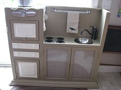 DIY play kitchen from a hutch