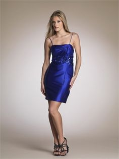 Column Spaghetti Strap with Sequins Knee Length Satin Homecoming Dress HD1649 www.homecomingstore.com $116.0000