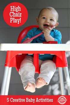 These fun and simple baby games  happen in the highchair, which help you while you are busy and want to keep the baby next to you safely.  ♥ ♥ ♥ This activity is part of ADAM & Mila's large collection of baby and toddler learning activities organized by age, duration, developmental milestones and more: https://www.adam-mila.com/baby-toddler-learning-activities/