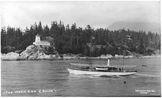 """""""The Weekend Cruise"""" - B. Rogers' steam yacht passes Point Atkinson, (Photo by Philip Timms - ID via Vancouver Public Library) Cruise, Public, History, City, Cruises, Historia, City Drawing, Cities"""