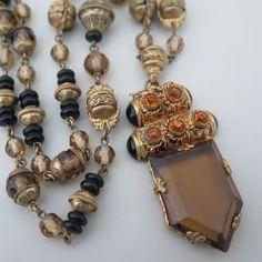 Vintage Art Deco Czech Glass Onyx Topaz Pendant Necklace