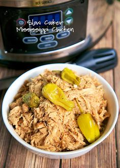 Slow Cooker Mississippi Chicken Recipe - chicken, Au Jus, Ranch, butter and pepperoncini peppers. We took our favorite pot roast recipe and used chicken. SO good!!!!