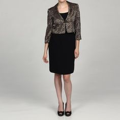 Jessica Howard Women's Black/ Champagne 2-piece Jacket Dress for the MOB