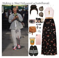 """Walking in West Hollywood w/Justin(fiancé)."" by tatabranquinha ❤ liked on Polyvore featuring beauty, RED Valentino, Glamorous, adidas Originals, STELLA McCARTNEY, Boohoo, Miu Miu, Smashbox, set and bieber"