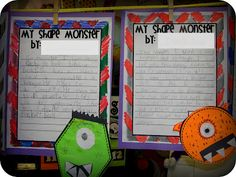 These shape monsters might be a good idea for geometry. Can incorporate math and writing. Math Classroom, Kindergarten Math, Teaching Math, Maths, Teaching Ideas, Classroom Ideas, Math Strategies, Math Resources, Math Activities