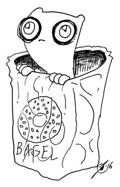 Empty Bagel Bag Foamy The Squirrel by illwillpress on Etsy