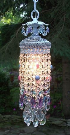 Vintage Jeweled Lavender Skies Chandelier :: Very Unusual and quite beautiful Crystal Wind Chimes, Deco Luminaire, Bohemian Decor, Boho, Chandelier Lighting, Blue Chandelier, Chandelier Ideas, Vintage Chandelier, Beautiful Lights