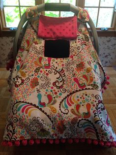 """Saw this fabric at Joann's Love it, I will have to make a copy.... Super cute Car seat / stroller cover with """"peekaboo"""" window that opens or closes!!"""
