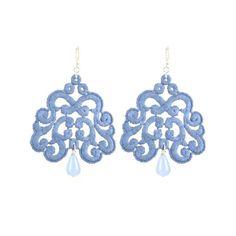 Nuage denim lace earrings by Tita Bijoux