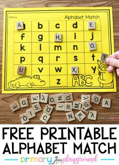 Free Printable Alphabet Match - Kids education and learning acts Alphabet Activities Kindergarten, Preschool Learning, Literacy, Preschool Letters, Work Activities, Preschool Activities, Esl, Alphabet Words, French Alphabet