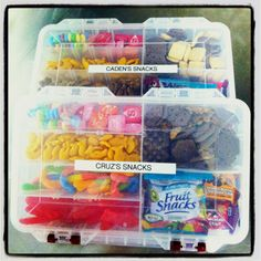 Great snack container for the kids on road trips!!