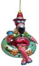 Pink FLAMINGO Tubing Inner Tube Christmas Holiday Blown Glass Ornament Tropical