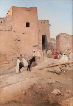 "Maurice Bompard: ""The Oasis of Chetma, near Biskra""(L'oasis de Chetma, près de Biskra), circa 1889,  oil on canvas, 	Height: 170 cm (66.93 in.), Width: 120 cm (47.24 in.), Private collection."
