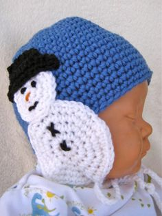 Crochet Some Cool Ear Warmers with These Free Hat and Headband Patterns: Snowman Baby Hat With Earflaps