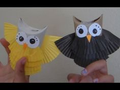 DIY Owl Puppets Reusing Toilet Paper Tubes and Cupcake liners! - YouTube