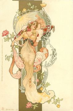 Prime example of Mucha's ability to create sensual movement, and a rare glimpse at footware!