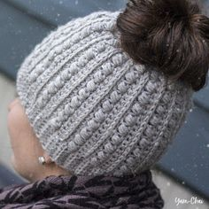 This pattern is part of the Fall 2017 Malia CAL (Crochet-Along). To view the other patterns in this collection (including a slouchy hat, beanie, infinity scarf, buttoned cowl and more), please visit the Malia CAL Homepage.     I gotso many requests for a messy bun hat pattern last season. The p