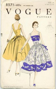 1955 Sewing Pattern Vintage Vogue 8571 Size 14 Full Skirted Rockabilly Halter…