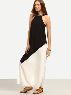 White Black Contrast Cutaway Keyhole Back Maxi Dress -SheIn(Sheinside) Mobile Site
