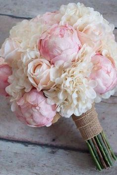 Love the combination of soft blush roses and peonies accented with ivory hydrangeas and burlap in this silk wedding bouquet. Shabby Chic Wedding Bouquet - Peony Rose and Hydrangea Ivory and Blush Wedding Bouquet with Burlap Wrap by Kate Said Yes Weddings: Peony Bouquet Wedding, Peonies Bouquet, Bride Bouquets, Floral Wedding, Wedding Flowers, Peonies And Hydrangeas, Boquet, Pink Hydrangea Bouquet, Bridesmaid Bouquets