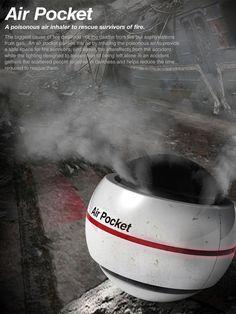 En caso de incendio – conseguir la bolsa de aire! Air Pocket – Air Supply System for Fire Emergency Situations: Diseñadores Seam Lee y Young Jo In