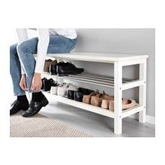 "IKEA - TJUSIG, Bench with shoe storage, black or white - Width: 42 1/2 "" Depth: 13 3/8 "" Height: 19 5/8 "" $60"