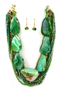 Emerald Agate Statement Necklace