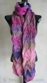 I LOVE scaves -- and this one is gorgeous --  not just the pattern but the yarn she used is just lovely, don'cha think? Look at here: knitting pattern photo for #37 Curvy Scroll Lace Scarf PDF Knitting Pattern