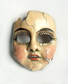 Cracked porcelain doll leather mask...possibly the first thing I've ever created really gives me nightmares! Annie Libertini https://www.facebook.com/Libertini.Arts1