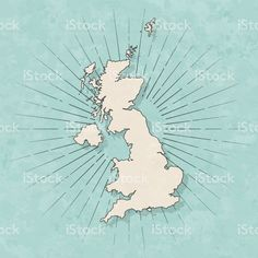 Map of United Kingdom in a trendy vintage style. Map Vector, Free Vector Art, Vintage Style, Retro Vintage, Vintage Fashion, United Kingdom Map, Retro Illustration, Paper Texture, Maps