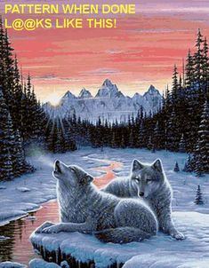 Twilight Song Wolf Cross Stitch Pattern LOOK