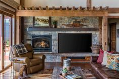 Rustic barn house designed as forever home in Oregon's wine country #rustic #barn #house #familyroom #fireplace