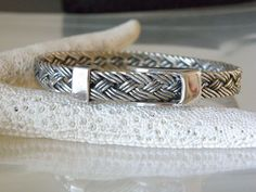 Sterling Silver 925 Belt Buckle Weave Byzantine Style Link Bracelet Mexico  #Handmade #Bangle