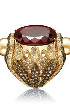 Armani Privé yellow-gold ring with oval rubellite center stone, Australian gold pearls, white, natural brown & gray diamonds and white rosettes