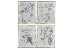 Blue Flowers Wall Plaques Set