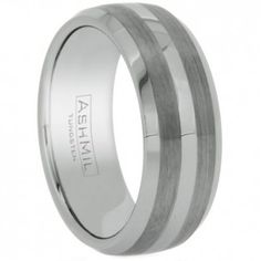 Wholesale Tungsten Ring. Style # WTG4010. This unique tungsten band features a double matte finish. AshMil is a trademark of WildGiraffe Wholesale Jewelry Company.