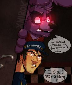 Peeking out from the office.. by xNIR0x on DeviantArt| omg Mark and Bonnie working together