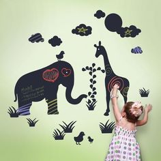 WallCandy Arts Jungle Chalkboard Wall Decals - #nursery #jungletheme #kidsrooms #wallart #decals #chalkboard
