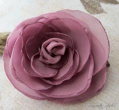 Wedding Hair Flower  Mauve Rose Chiffon Hair by RainwaterStudios, $15.00