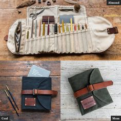 Sendak Waxed Canvas Artist Roll, Pen and Pencil Case with Zipper Pouch, Travel Accessory comes in 5 colorways by Peg and Awl Roll Up Pencil Case, Pencil Cases, Artist Bag, Bordado Floral, Watercolor Kit, Tool Roll, Waxed Canvas, Vegetable Tanned Leather, Organizer