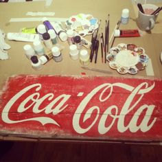 Diy coca cola red white paint