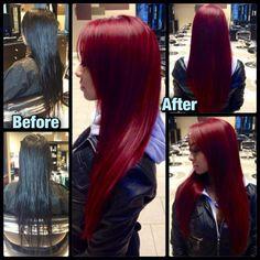 "Lesley's Custom Red Pravana Vivids Haircolor 2 tubes red, 1 tube magenta, 1/2 tube orchid, 1.5"" ribbon violet. First prelightened to warm 7."