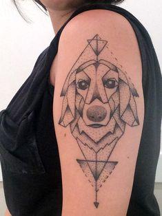 geometric tattoo dog