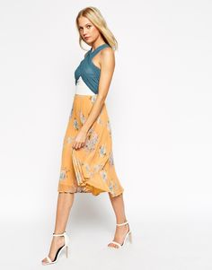 Image 1 of ASOS Colour Block Floral Pleated Midi Dress