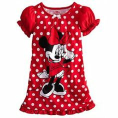 Disney Minnie Mouse Red Bow Nightshirt Nightgown Pajama 2 3 4 5 6 7 8 10 d960bf2e9