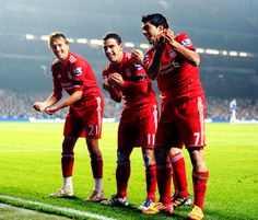 Lucas, Maxi, and Suarez celebrate for Liverpool FC #LFC #YNWA